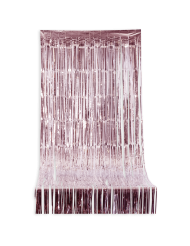 Glittrig gardin med rosa fransar 244x92 cm