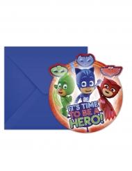 6 Pyjamashjältarna™ inbjudningskort med kuvert 14x9 cm