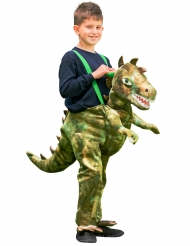 Hängseldräkt grön dinosaurie barn