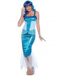 Blå sjöjungfru dräkt dam