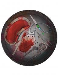8 papperstallrikar med blodiga verktyg som motiv - Halloween pynt