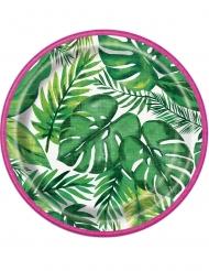8 papptallrikar med tropiskt mönster 18 cm