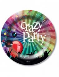 6 Crazy Party papptallrikar 23 cm