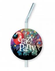 6 Crazy Party sugrör med märken 12x33 cm