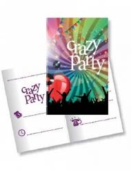 10 Crazy Party inbjudningskort med kuvert 11x22 cm