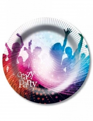 6 Crazy Party papptallrikar vita 23 cm