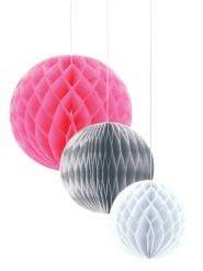 3 Pappersbollar i vitt, gråoch rosa20/25/30 cm