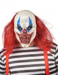 Clownmask rödvit latex vuxen