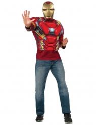 Captain America Civil War™ Iron Man™ tröja och mask vuxen