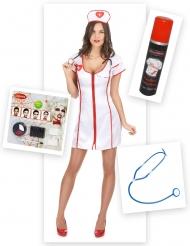 Zombifierad sjuksköterska-kit för Halloween