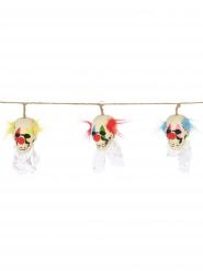 Girland med clowndödskallehuvuden 153 cm lång - Halloween pynt