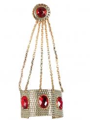 Guldarmband med ring och röda stenar dam