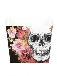 6 Papperskålar med blommigt skelett motiv 40cl - Halloween pynt