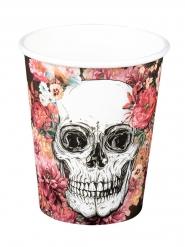 6 muggar med blommigt skelettmotiv - Halloweendukning