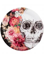 6 Papperstallrikar med blommigt skelettmotiv bredd 23cm - Halloween