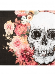 12 blommiga skelett pappersservetter 33*33cm - pynt