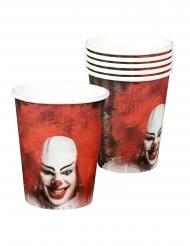 6 Pappersmuggar med läskigt Clown motiv - Halloween