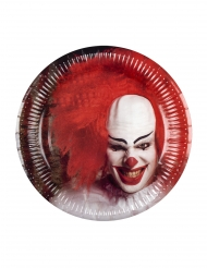 6 Papperstallrikar med läskigt Clown motiv - Halloween pynt