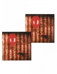 12 servetter med läskig Clown motiv 33*33 cm - Halloween pynt