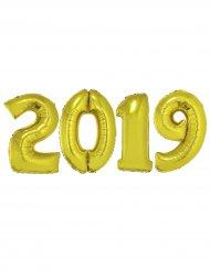 2019 - Gyllene jätteballonger i aluminium till nyåret 1m