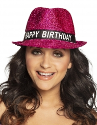 Glitterrosa Happy Birthday-hatt