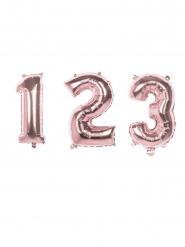 Siffra rosa aluminiumballong 36 cm