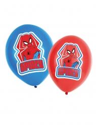 6 röda & blå Spiderman™ latexballonger 27,5 cm
