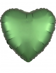 Hjärtformad grön aluminiumballong 43 cm