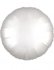 Vit rund aluminiumballong 43 cm