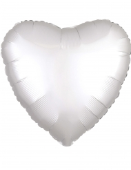 Hjärtformad vit aluminiumballong 43 cm