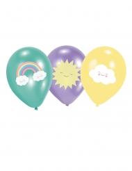 6 Latexballonger med små moln i pastellfärger grönt, lila, gult 27,5 cm