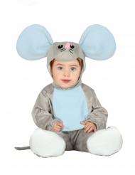 Grå musdräkt med huva bebis
