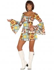 Geometriska Gia - Discoklänning med rutor för vuxna