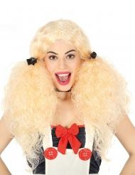 Lockig blond peruk dam