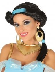 Svart prinsessperuk med blå band dam