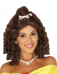 Brun prinsessperuk med krulligt hår och rosett dam