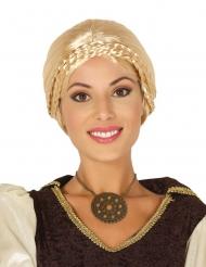Blond medeltidsperuk med flätor