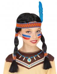 Indianperuk med pannband och fjäder barn