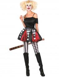 Harlekin-kjol i rött och svart