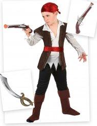 Piratdräkt med sabel och pistol barn