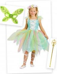 Grön älva dräktpaket med vingar och trollstav barn