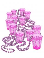 12 Rosa halsband med shotglas