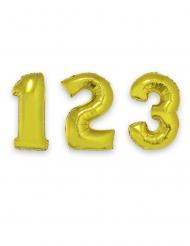 Guldfärgad aluminium ballong med siffra 1 m