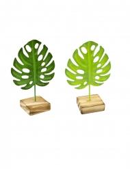 Tropiskt grönt metallblad på träsockel 15 cm