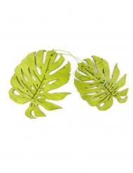 2 Tropiska gröna löv av trä 11 cm