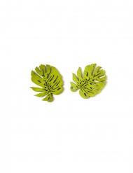 10 Gröna bitar konfetti tropiska löv 4 cm