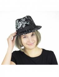 Borsalino-hatt med paljetter svart & silver