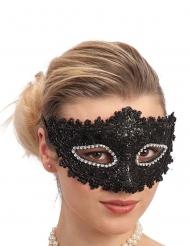 Elegant svart mask med strass vuxen