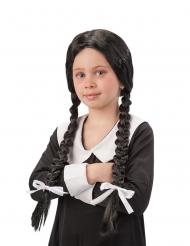 Svart peruk med flickskoleflätor