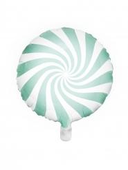 Rund aluminiumballong grönvit godisklubba 45 cm